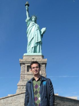 Physicist Omid Kokabee at the Statue of Liberty